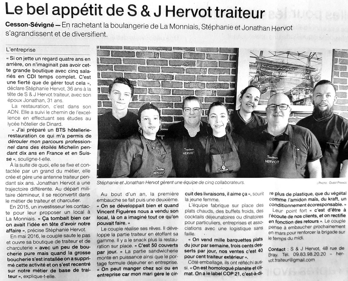 HERVOT TRAITEUR Traiteur Rennes Cesson Lebel Appétit